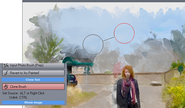 Retouch tab has added Clone Brush (works like clone stamp tool in photoshop)